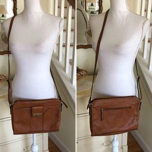 Merian Brown Faux Leather Shoulder Bag
